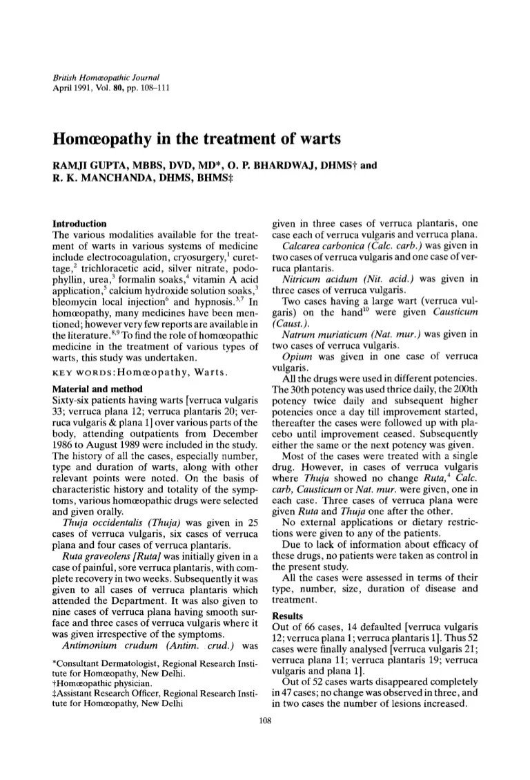 Thuja Lm 18 Documentslide Homoeopathy In The Treatment Of Warts 1991